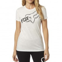 T-SHIRT FOX LADY REACTED CREW LIGHT HEATHER GREY