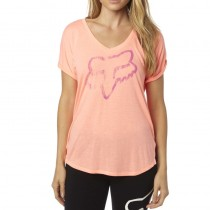 T-SHIRT FOX LADY RESPONDED VNECK MELON XS