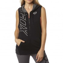 BLUZA FOX LADY Z KAPTUREM NA ZAMEK PRECISED CUT OFF BLACK S