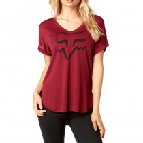 T-SHIRT FOX LADY RESPONDED DARK RED XS
